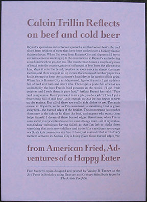 Image for Calvin Trillin Reflects on beef and cold beer. from American Fried, Adventures of a Happy Eater.