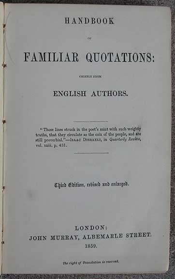 Image for Handbook of Familiar Quotations Chiefly From English Authors.