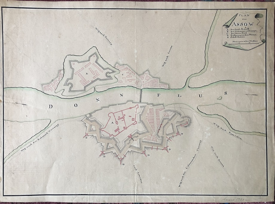Image for Three Manuscript Maps of Assow [Azov Fortress, Assoff, Asov, Asaf, Asof, Asoph].