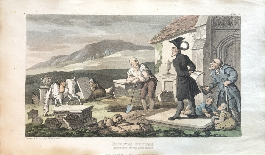 Image for Doctor Syntax Meditating on the Tomb-Stones. [From: The Tour of Doctor Syntax In Search of the Picturesque. A Poem. 7th Edition with new Plates].