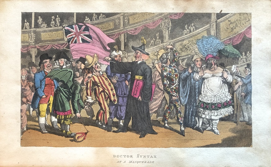 Image for Doctor Syntax At A Masquerade.  [From: The Tour of Doctor Syntax Through London, or the Pleasures and Miseries of the Metropolis. A Poem. By Doctor Syntax. Third Edition.]