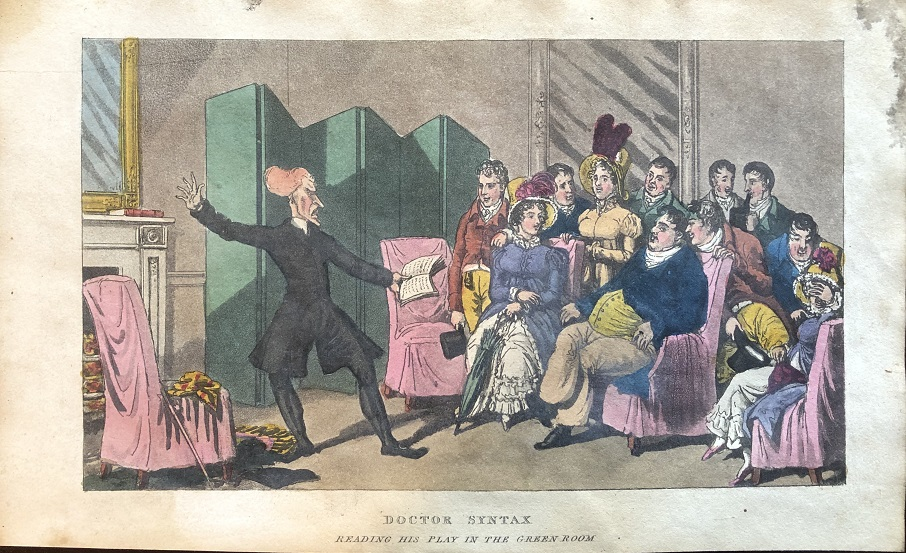 Image for Doctor Syntax Reading His Play in The Green Room.  [From: The Tour of Doctor Syntax Through London, or the Pleasures and Miseries of the Metropolis. A Poem. By Doctor Syntax. Third Edition.]