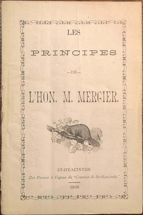 Image for Les principes de L'Hon. M. Mercier.